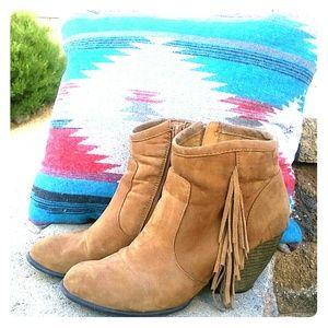 Shoes - VEGAN SUEDE FRINGE BOOTS